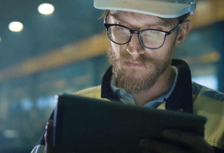 Engineer working on computer
